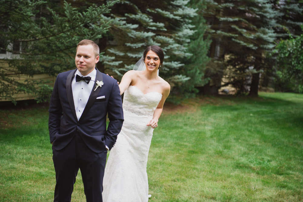 NH Wedding Photographer: first look at Bedford Village Inn