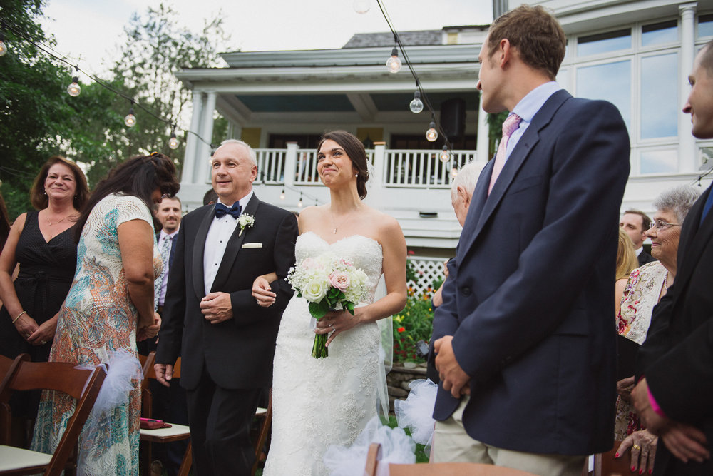 NH Wedding Photographer: bride walking with dad at BVI