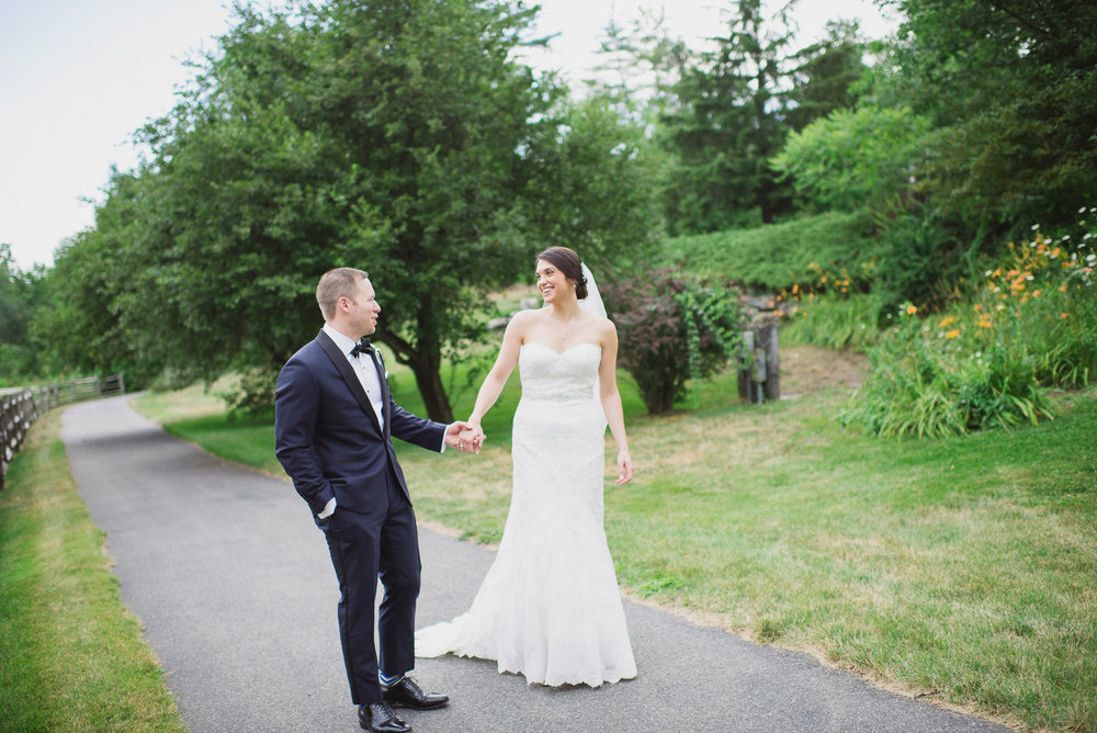 NH Wedding Photography: walking on path in Bedford NH
