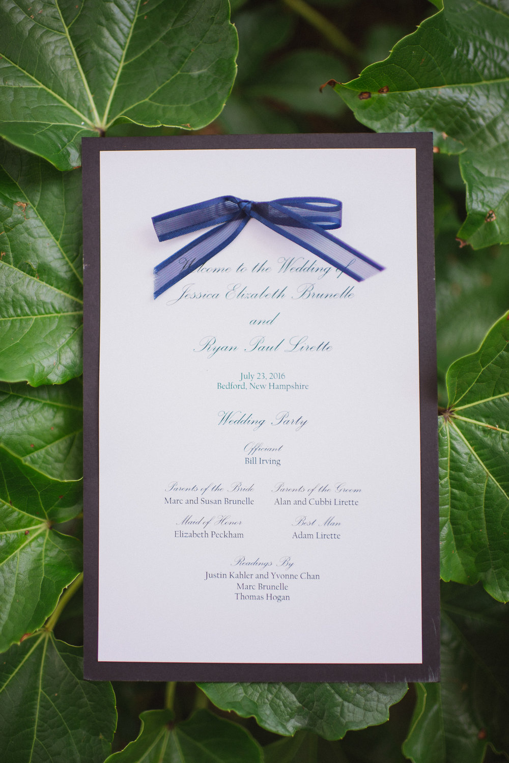 NH Wedding Photography: wedding invitation