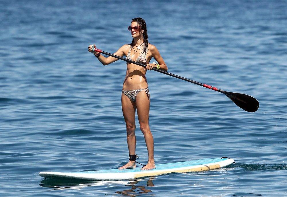 Alessandra Ambrosio Paddleboarding in Maui