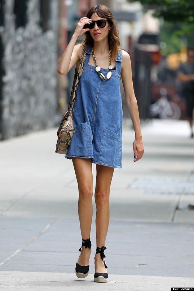 Alexa Chung with lace-up black Espadrilles
