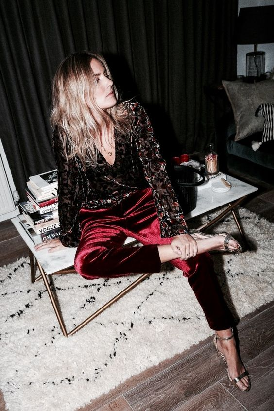 Source:  @Lucywilliams  wearing  Topshop's burgundy velvet pants