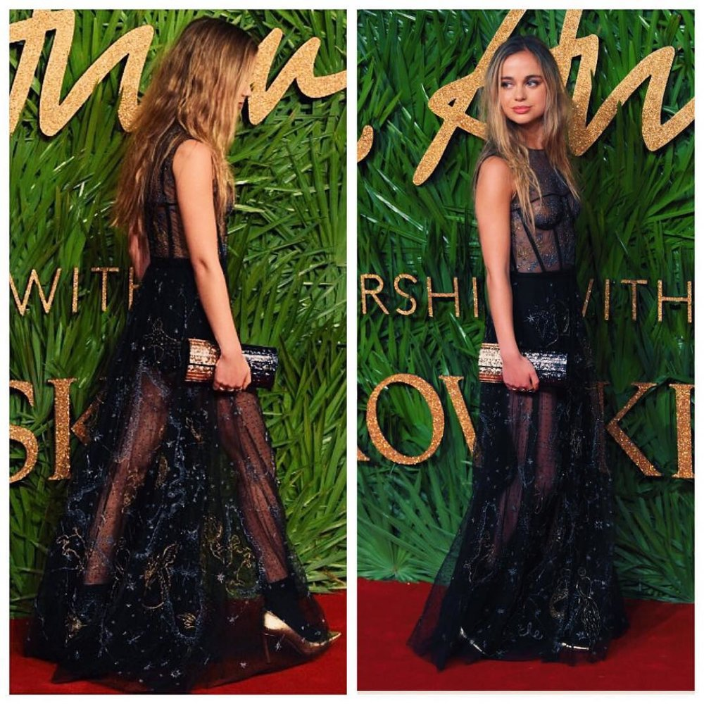 Lady Amelia Windsor opted for a Dior sheer tulle dress.
