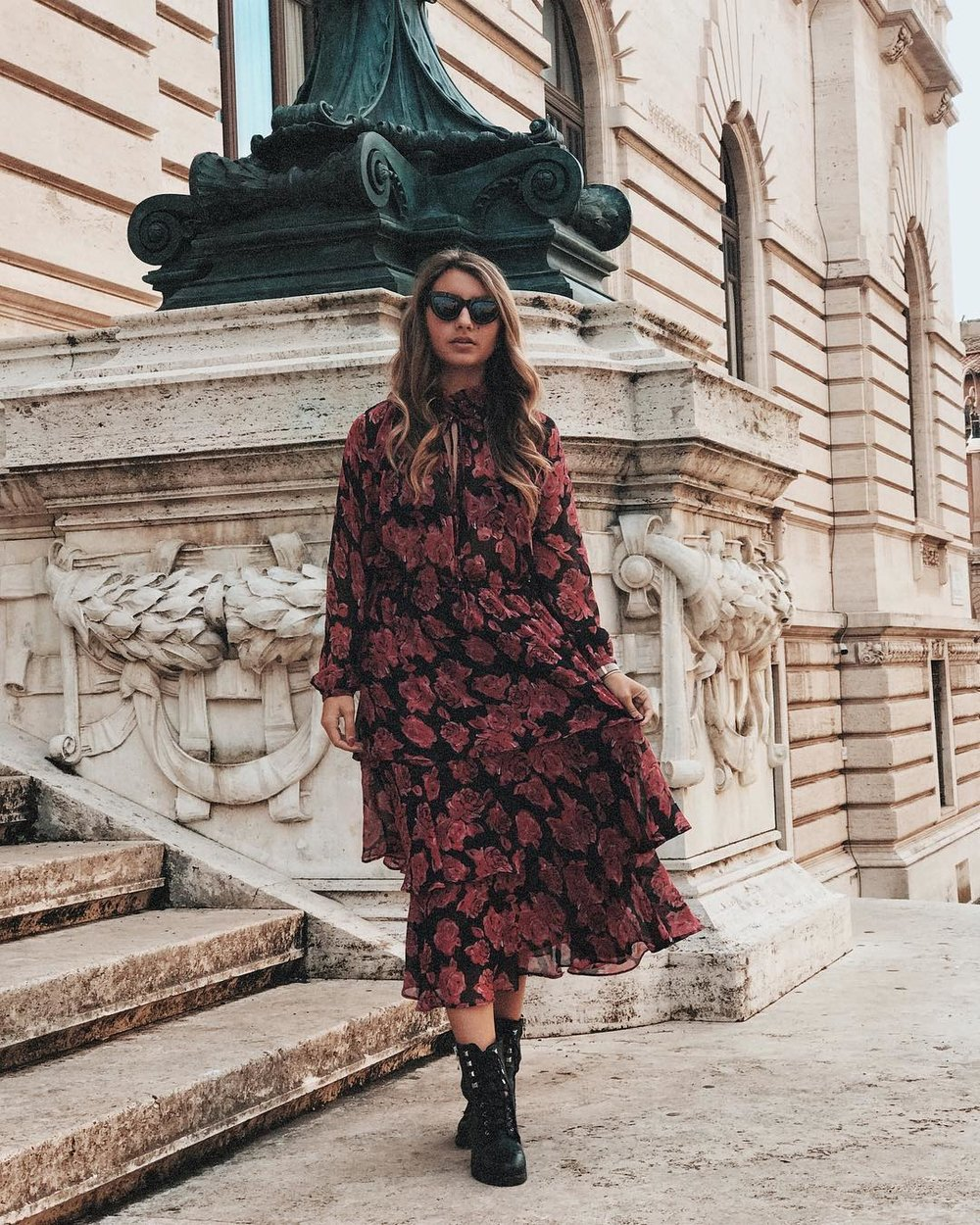 Try long dresses with dark blooms