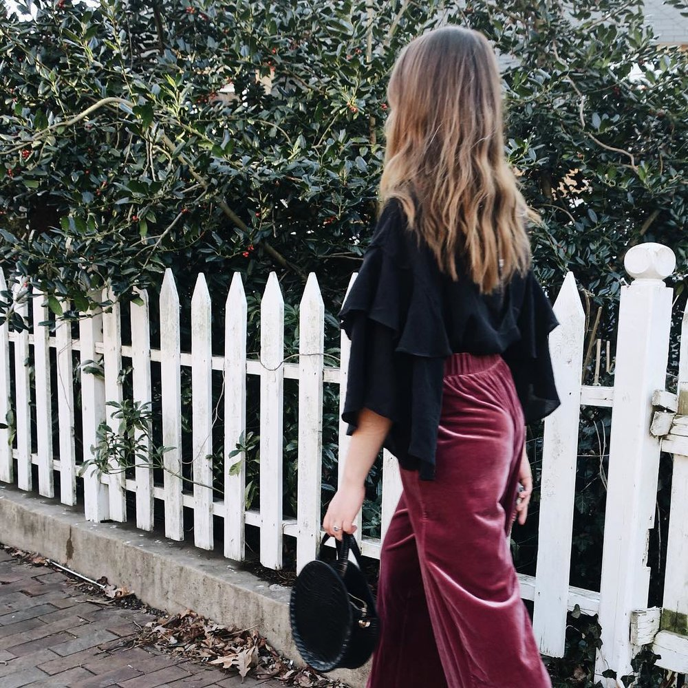 Velvet pants + romantic blouse