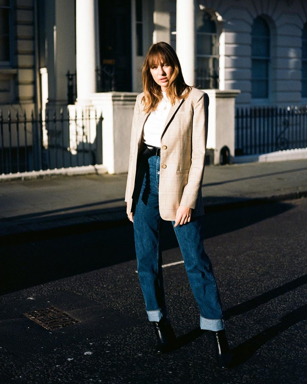 Straight legged jeans, but in a longer leg length