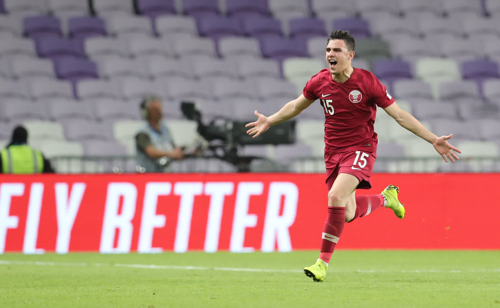 An Iraqi scoring for Qatar. Bassam Al-Rawi after his outstanding free kick.  Photo: 2019 Asian Football Confederation (AFC)