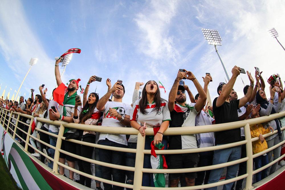 Iran-Iraq, Saudi Arabia-Qatar. Bring it on!  Iranian fans in Abu Dhabi; Photo: 2019 Asian Football Confederation (AFC)