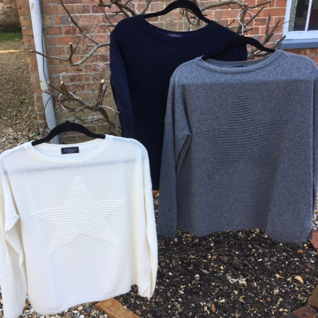 Star embossed cashmere jumpers, all £58