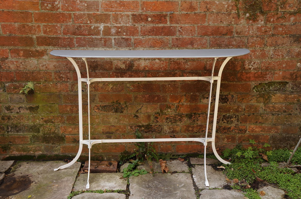 Long zinc top table, £195