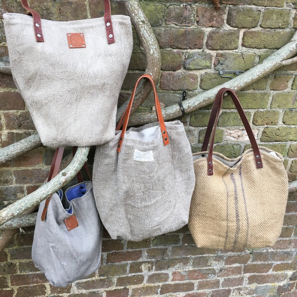 A gorgeous selection of French linen and hemp bags. From £40.
