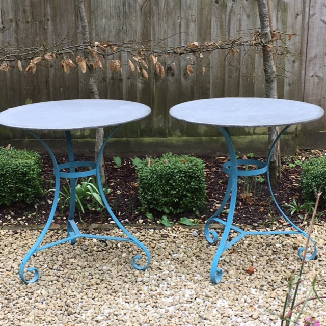 2 round zinc top tables, £265 each