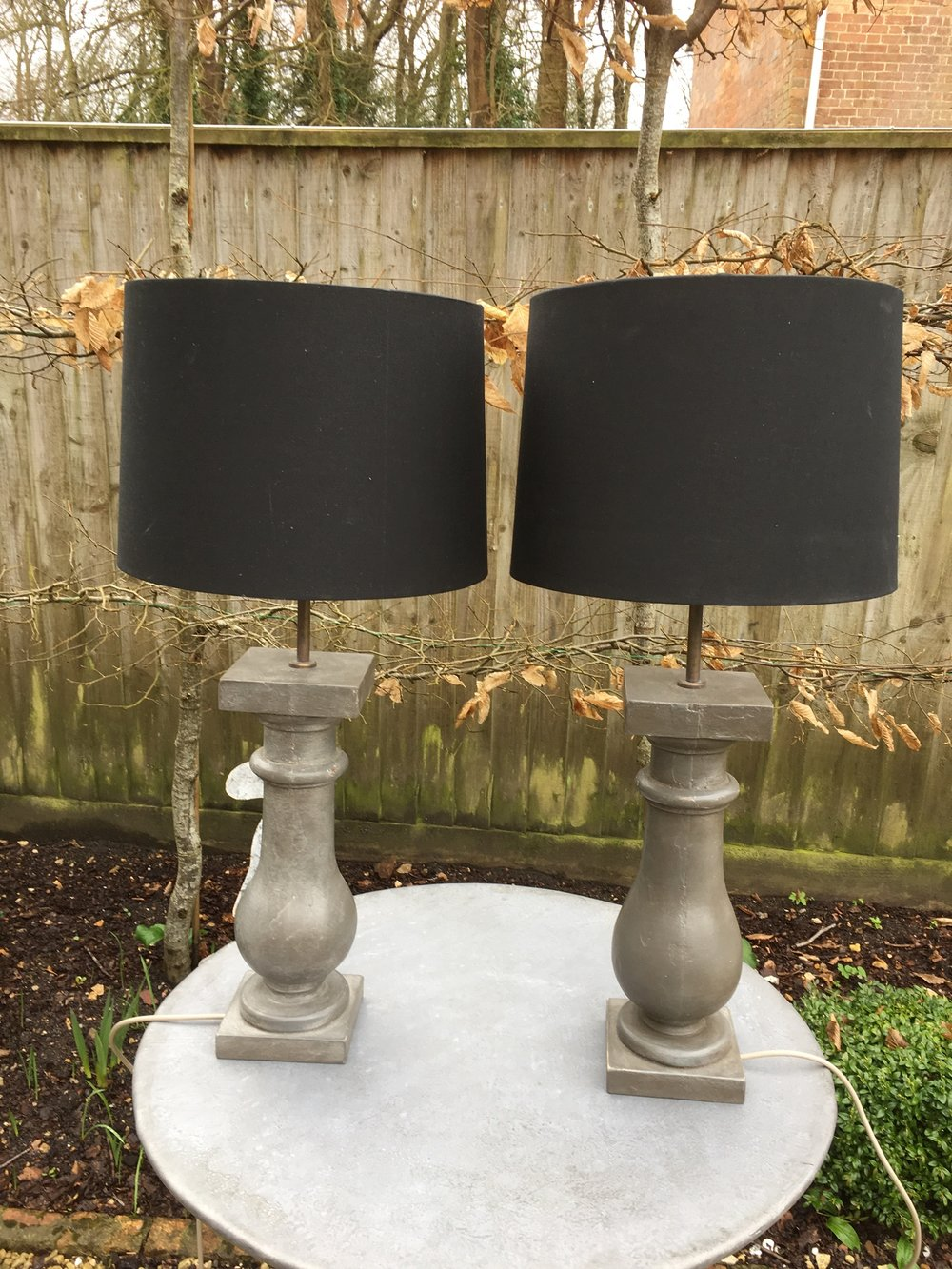 Pair of wooden painted lamp stands with shades £120 each