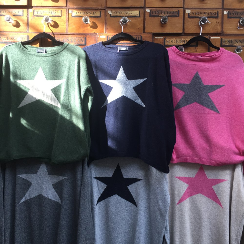 Star cashmere jumpers, £58 each