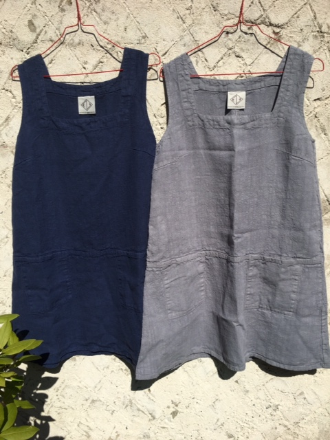 Due to the huge success of our washed linen aprons, we now have the pinafore dress version. Made in Sweden from fabulous thick washed linen, each dress has 2 pockets at the front and comes in S/ML, Grey/blue/black and are £95.