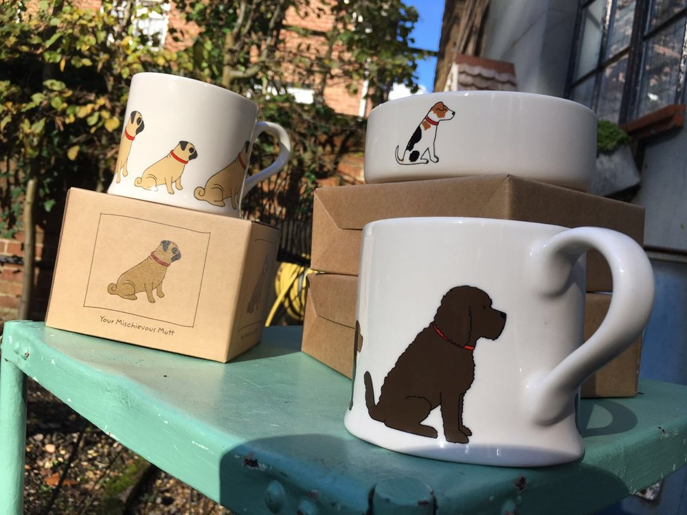 Dog themed mugs and dog bowls