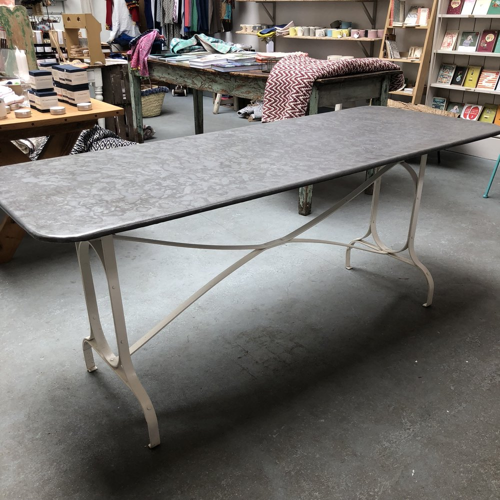 Zinc top table 179cm x 70cm 75cm high £495