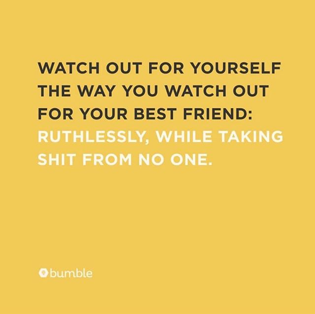 Self-care, explained otherwise. @bumble 🐝 #FemaleDepartment