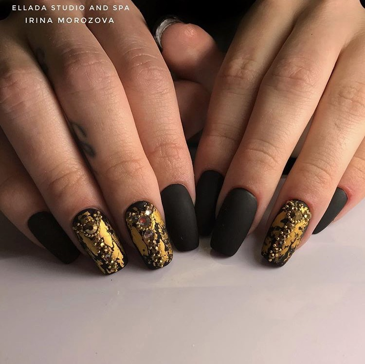 Matte Black and gold nail design