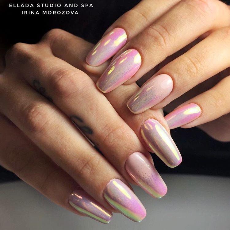 Mermaid irridescent nails
