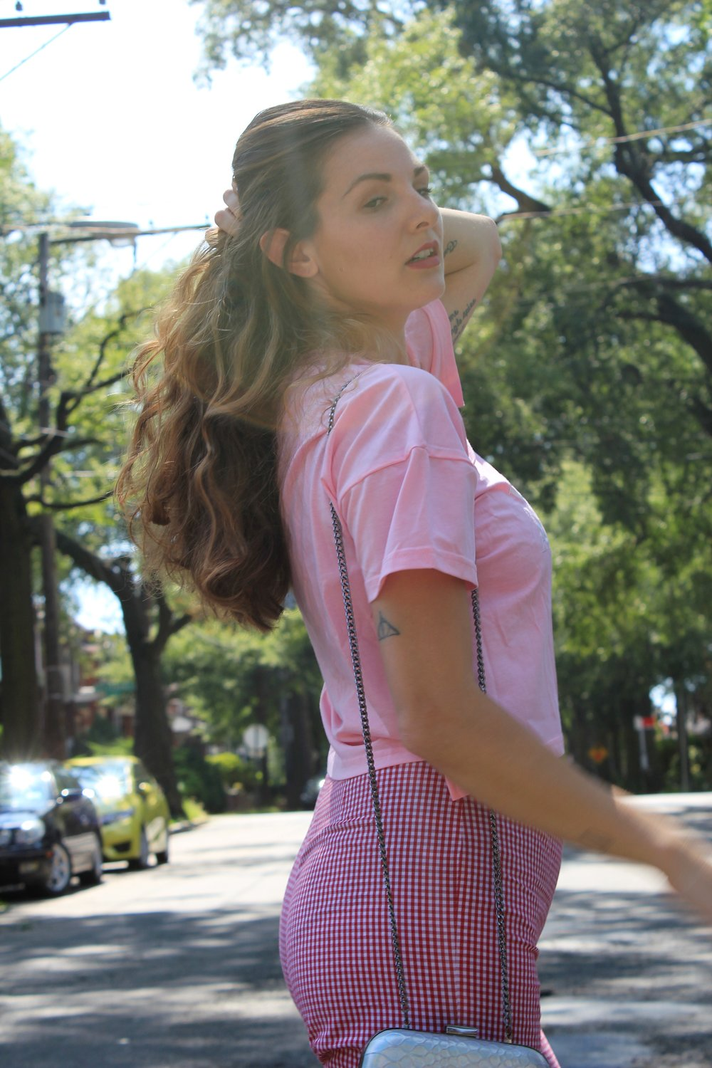 Gingham and Pink Outfit