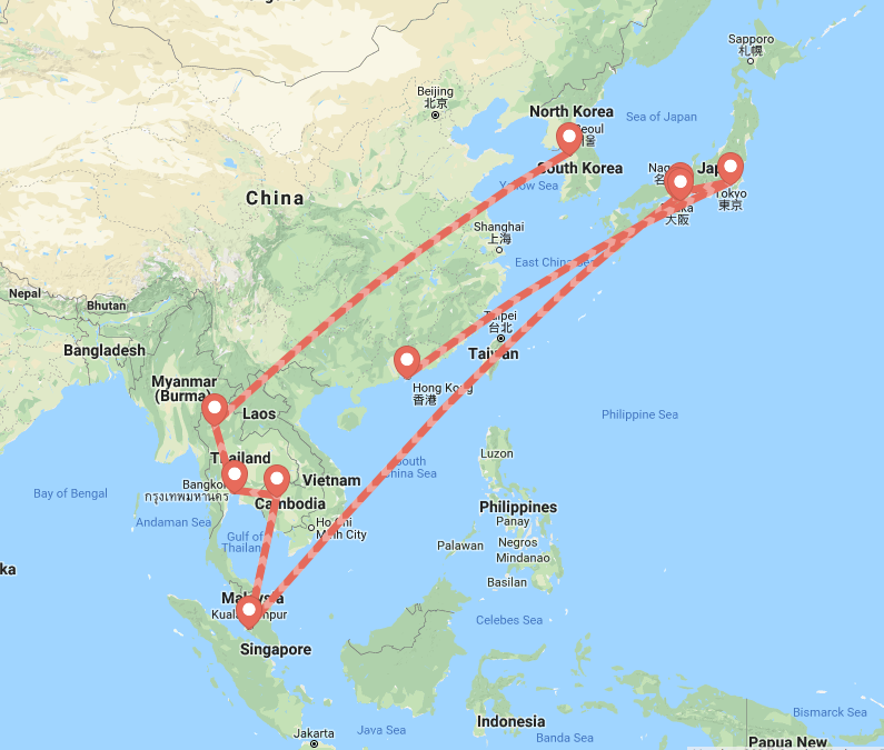 7 Countries in 27 Days Itinerary via Que Sera Sahra