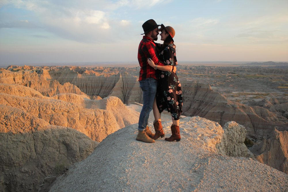 Cute Couple Badlands Engagement Session