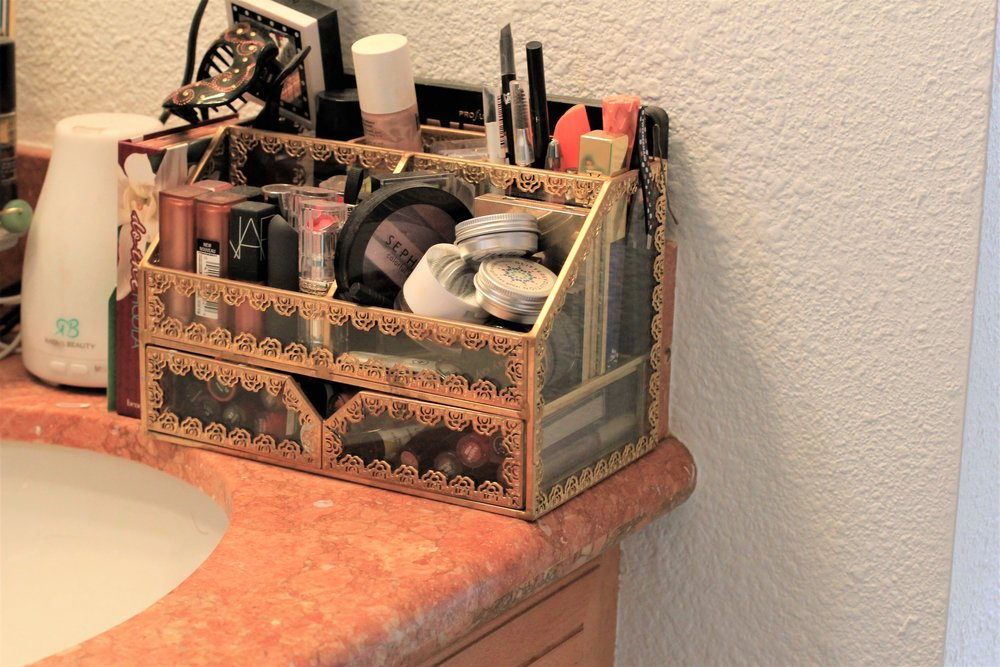 Make Up Storage for the Bathroom from HomeGoods