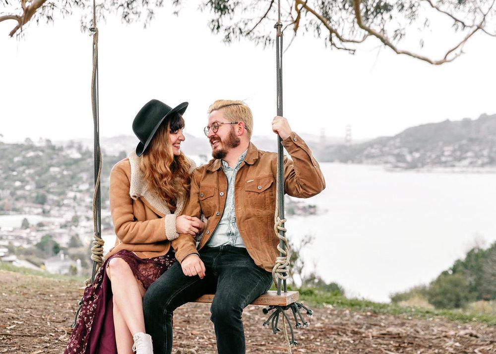 Stylish Couple on Swing - Golden Gate Bridge