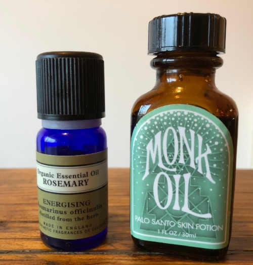 4.  Organic Rosemary Oil by Neal's Yard  /  Palo Santo Skin Potion by Monk Oil   Note: Monk Oil don't ship to the EU but  Incausa.eu  may be able to help!