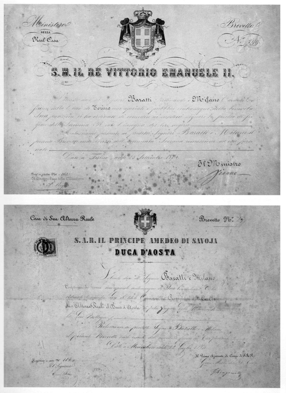 Brevetti per l'uso degli stemmi dinastici nelle insegne del negozio, Bra, Stabilimento Baratti & Milano, Archivio Storico