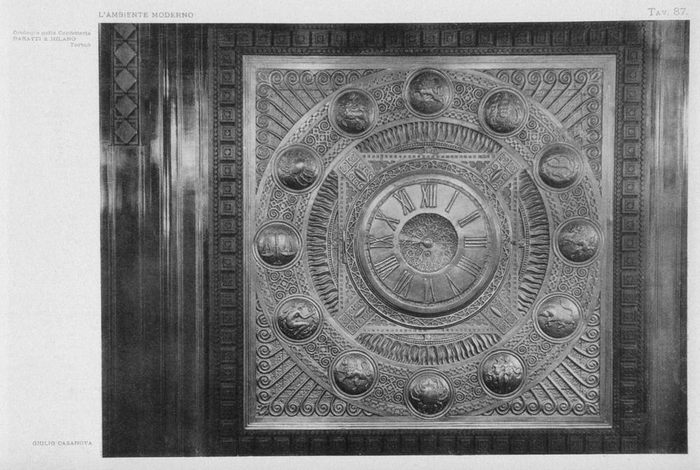 """"""" Orologio della Confetteria Baratti & Milano. Mobili e decorazioni di Giulio Casanova"""", in «L'ambiente moderno», II [1910-1911], tav. 87"""