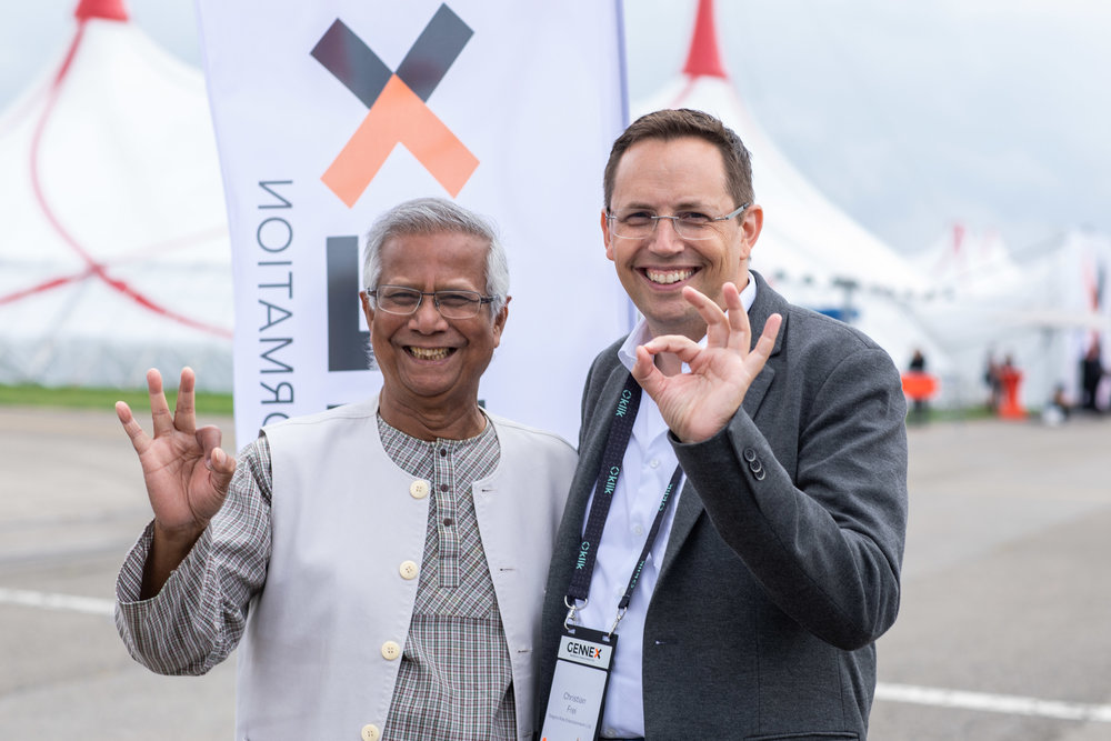 Peace Nobel Price Winner Prof. Muhammad Yunus at GENNEX 2018, thrilled about the premiere of GENNEX with Christian Frei, co-founder GENNEX and Member of the board of Gregory Knie Entertainment AG and InspiredView GmbH.