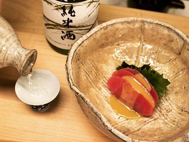 Nuta Maguro (Tuna sashimi with miso sauce) + Sake = Perfect Match 👌 ・ ・ ・ #sushi #sashimi #tuna #maguro #nuta #fish #freshfish #traditional #match #perfectmatch #foodromance #omakase #omakasesushi #foodie #japanese #japanesefoodlover #dc #downtowndc #dmvarea  #dcmetroarea