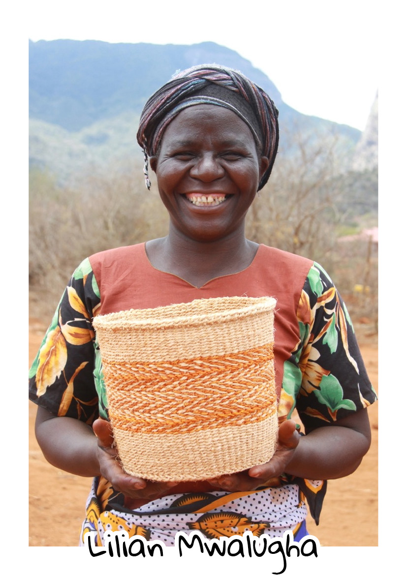 """""""I'm originally from Bungule. The group here is really cooperative and friendly. The profits I make from basket weaving I use to fund my clothes business. One of the biggest problems we experience here is the sisal we use for weaving the baskets being eaten by elephants"""".  Lilian - Ikonge Basket Weavers"""