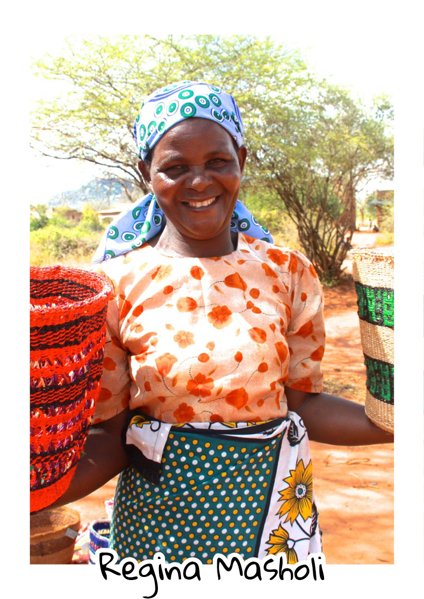 """""""I was born in Ukambani, Machakos County. I was taught basket weaving by my grandmother. Being a mother is everything to me, and the income I get from basket weaving allows me to raise the standard of living for my family, pay for my children's education and meet their daily needs! My other source of income is farming. I aspire to see my children study & lead a life without struggles."""" -  Regina, Ikonge Basket Weavers."""