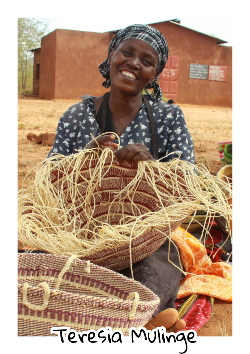 """""""I married my husband in 1979 but I've been widowed for 8 years. The basket weaving group has helped me remain more financially stable. With the money I get from selling baskets I was able to pay my children's school fees and buy them uniforms, as well as buy water tanks and solar lights for my home."""" -  Teresia Mulinge - Kisimenyi Basket Weavers"""