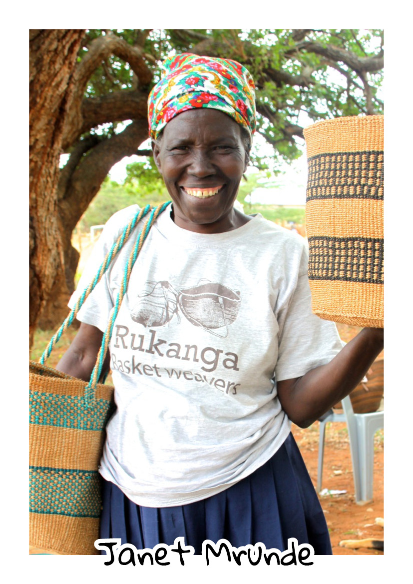 """""""I was born in Kasigau. My mother taught me how to weave baskets. This trade has benefited my life greatly for i can be able to provide my family with food and am able to educate my children and grandchildren. One of the happiest days of my life in this business is when machines and bricks were brought to build the new social hall."""" -  Janet - Chairlady of Amani Basket Weavers"""