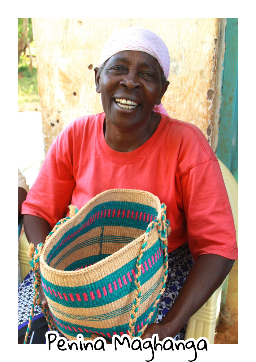 """""""When my husband died in 1982, I depended on charcoal burning and farming to maintain my livelihood. But then the government banned the practice of charcoal burning, and farming became so unproductive due to very low rainfall. So I'm very grateful to the customers who buy our baskets as it's my only source of income."""" interview 2017.  """"The advice I have for my fellow ladies is to work hard on their basket weaving, educate their children well and respect your customers!""""-  Penina Maghanga - Jora.   Penina passed away on 1 aug 2017 in a horrible public transport accident. The villages around Kasigau lost 5 community members that sad day."""