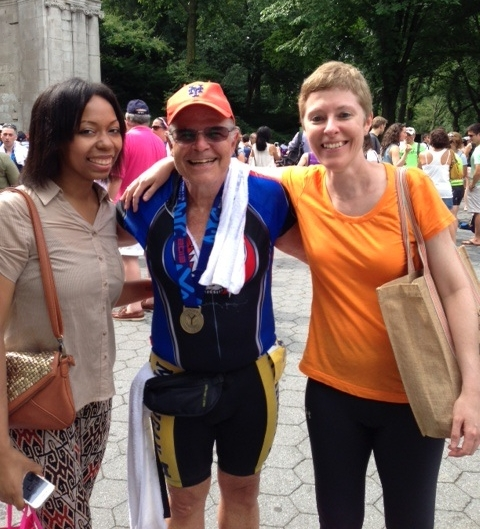 L to R: Angela Stamper, Matt, and Liz Froemke after the 2012 NYC Triathlon.