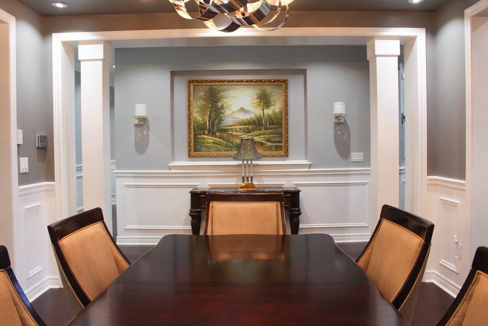 Wainscoting - Crown Moulding - Coffered Ceiling -