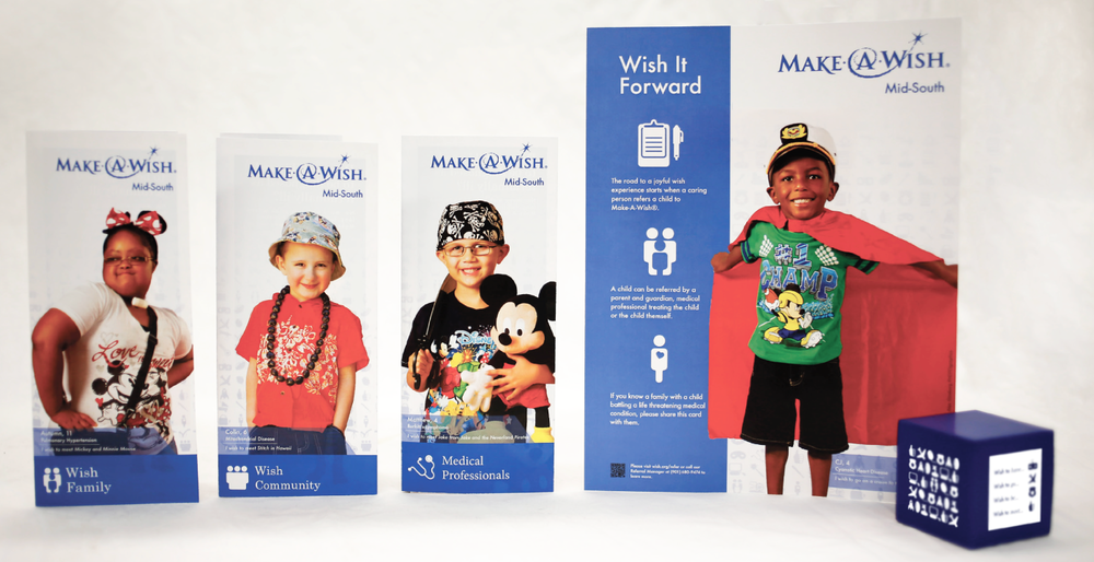 Wish It Forward - The Fall 2014 Design Laboratory team was privileged to partner with the Memphis Mid-south Chapter of Make-A-Wish and devised designs for three promotional products: brochures, leaflet, and a stress reliever cube.—Read the design brief on Issuu.