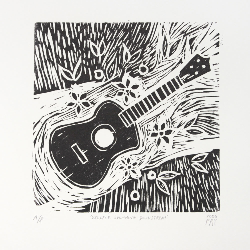 This linocut was inspired for my love of playing the ukulele! Listen to songs on ukuele  here!   Linocut printed by hand on 300gms Somerset Satin paper.
