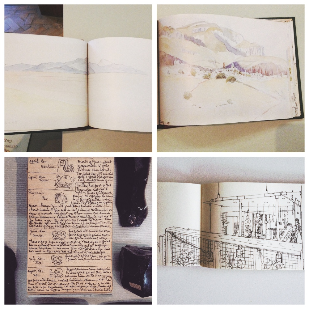 Clockwise from top left: Landscape from Adela Breton's sketchbook. Landscape from Adela Breton's sketchbook. Adela Breton's notebook of the Maya calendar. All three from Bristol Museum. A sketch I made today at Pinkman's Bakery, Bristol.