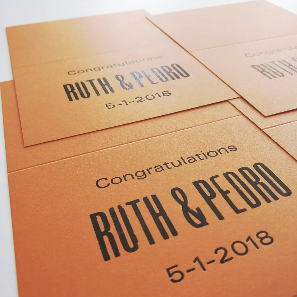 Ruth & Pedro wedding cards printed by Ahrabella
