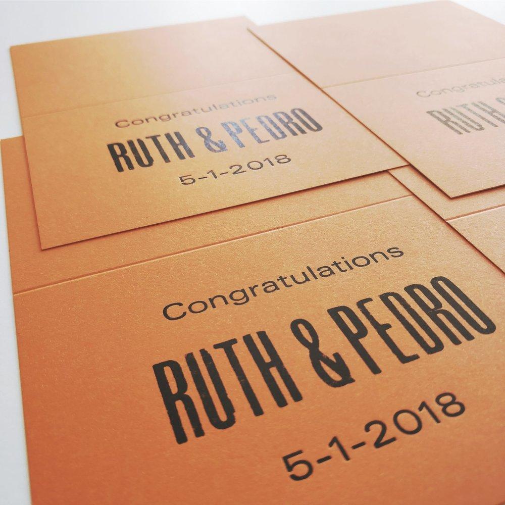Ruth & Pedro wedding cards printed by Ahrabella