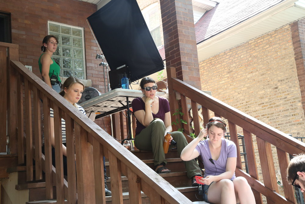 Producing up a storm on 'Ten More'. L - R Script supervisor Kelly Tynan, Camera Utility Trisha Leary, Shayna Connelly, Production Designer Taylor Henderhan.