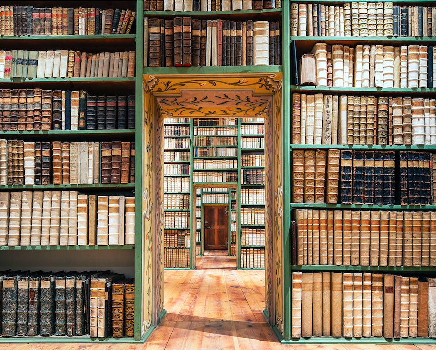 The library at St Peter's Abbey, Salzburg, Austria
