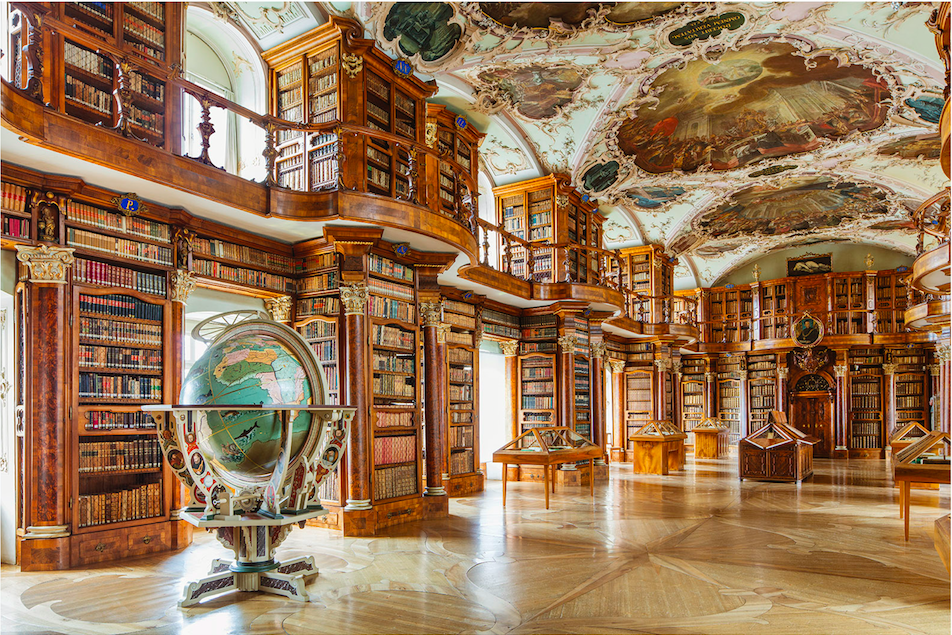 Abbey Library, St. Gallen, Switzerland  Above in all its splendour is Switzerland's Abbey Library, which sits in the beautifully preserved old quarter of St. Gallen and boasts one of Europe's finest secular Rococo interiors.